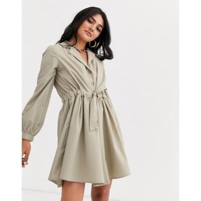 エイソス レディース ワンピース トップス ASOS DESIGN button through mini cotton shirt dress with ruched waist
