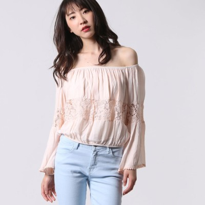 ゲス GUESS L/S CELESTE OFF SHOULDER TOP (SILVER PEONY)