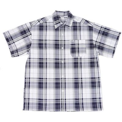 [並行輸入品] CAL TOP キャルトップ チェック 半袖 ボタン シャツ (ブラック/ホワイト)