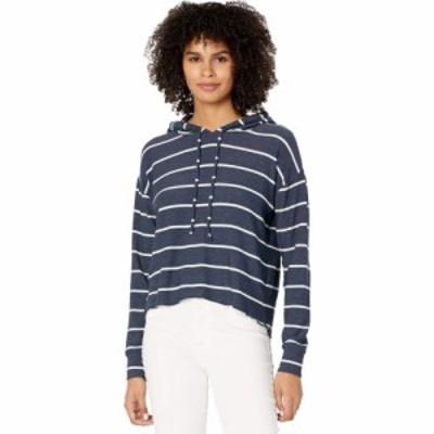 チェイサー Chaser レディース パーカー トップス Beach Stripes Cozy Knit High-Low Cropped Hoodie Stripe