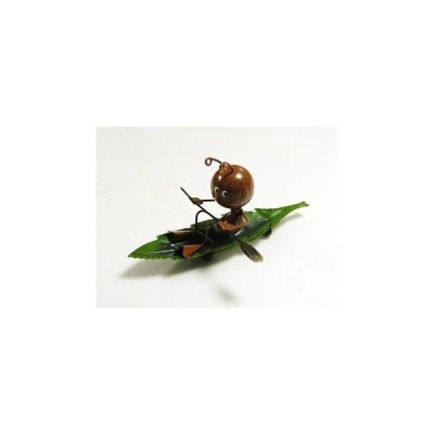 ブリキのアイアンオブジェ葉っぱで漕ぐありんこ 1匹ブラウン
