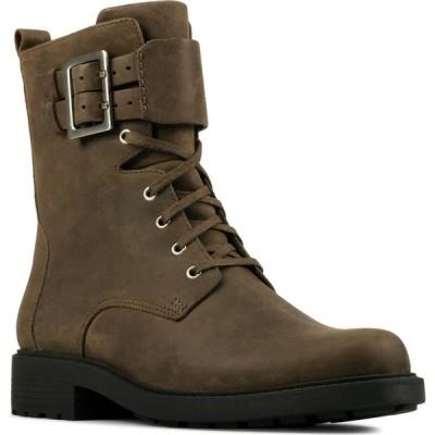 クラークス CLARKS レディース ブーツ コンバットブーツ シューズ・靴 Orinoco 2 Combat Boot Dark Olive Leather