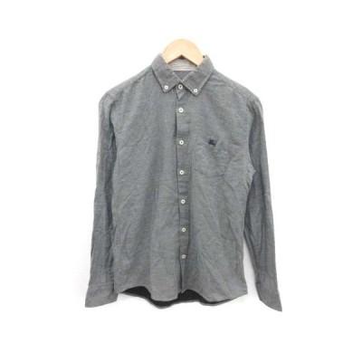 【中古】バーバリーブラックレーベル BURBERRY BLACK LABEL ボタンダウンシャツ 長袖 ロゴ刺繍 1 S グレー /PJ メンズ 【ベクトル 古着】