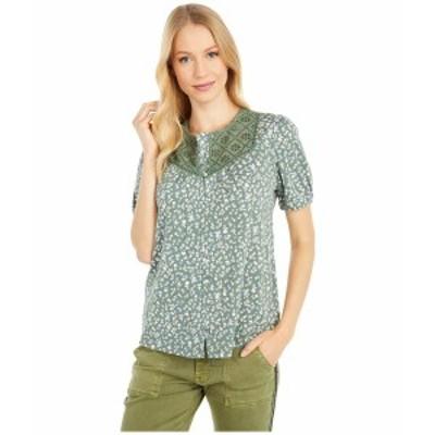 ラッキーブランド レディース シャツ トップス Button-Down Knit Blouse Olive Multi