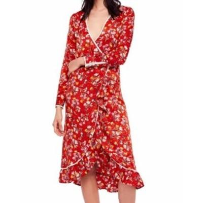 Free People フリーピープル ファッション ドレス Free People Red Womens Size 6 Surplice V-Neck Floral Wrap Dress