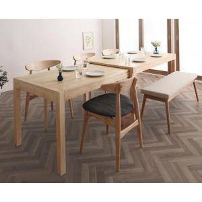 ダイニングテーブルセット 6人用 椅子 ベンチ おしゃれ 伸縮式 伸長式 安い 北欧 食卓 6点 ( 机+チェア4+長椅子1 ) 幅135-235 デザイナー