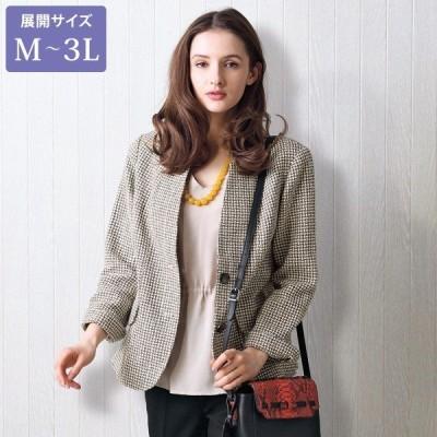 ジャケット レディース / シルクノイル混 衿デザインジャケット / 大きいサイズ 40代 50代 60代 70代 ミセスファッション シニアファッション 服