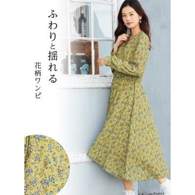 【大きいサイズ】イレギュラーヘム花柄ワンピース 大きいサイズ ワンピース レディース