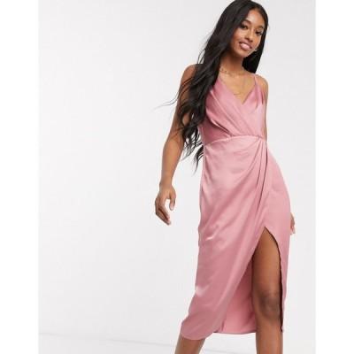 リトルミストレス ミディドレス レディース Little Mistress satin wrap dress in pink エイソス ASOS