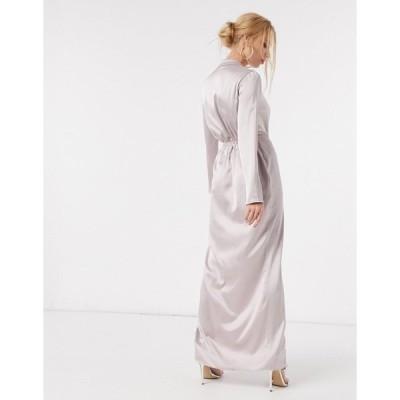 フロンスロンドン レディース ワンピース トップス Flounce London twist-front plunge asymmetric maxi shirt dress in antique Antique gray