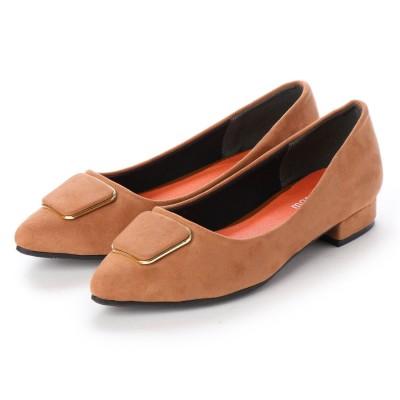 マシュガール masyugirl 【3E/幅広ゆったり・大きいサイズの靴】ゴールドラインバックルフラットヒールパンプス (オーク) SOROTTO