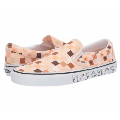 バンズ スニーカー シューズ メンズ Vans x Breast Cancer Awareness Collab Sneaker Collection (Breast Cancer) Nude Check/True White (Classic Slip-On)