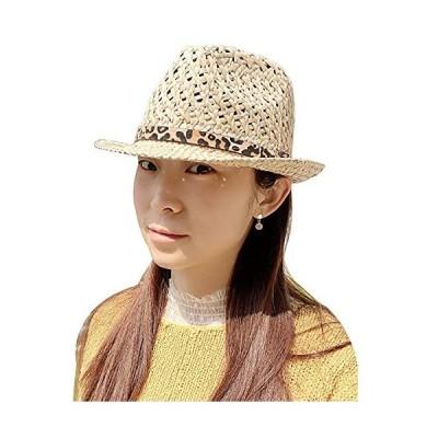 IFSUN春夏 ジャズ帽子 レディース ストローハット トップ パナマ 中折れ 麦わら 紳士風 通気性 紫外線カット 旅行 軽量