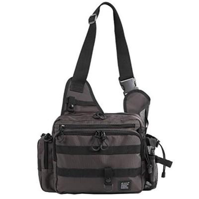Leastat フィッシングバッグ ロッドホルダー付き 大容量 軽量 ワンショルダー バッグ タックルバッグ ランガン バッグ (ブラウン・