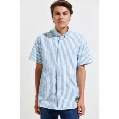 プレザント Pleasant メンズ 半袖シャツ トップス blue stripe short sleeve button-down shirt Blue