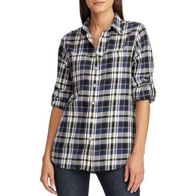 ラルフローレン レディース シャツ トップス Plaid Cotton Twill Roll-Tab Button Front Long Sleeve Shirt