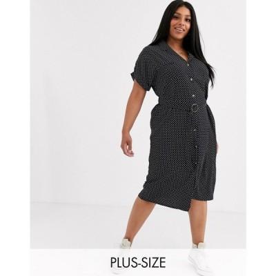 ニュールック New Look Curve レディース ワンピース シャツワンピース ワンピース・ドレス spotty belted shirt dress ブラックパターン