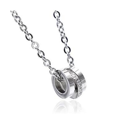 Napist (ナピスト) 3連リング 3つの輪 ネックレス シルバー[ 316Lサージカルステンレス / 平あずきチェーン ] レディースアクセサリ