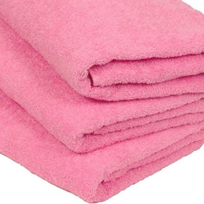 WKG 泉州製 バスタオル 3枚セット 日本製 綿100% ソフトタオル 無地 (桃色)