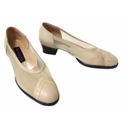 BELEZZA ベレザ「24EEE」シースルー×レザーヒールパンプス (ベージュ 靴 シューズ 日本製 Made in Japan) 097335【中古】