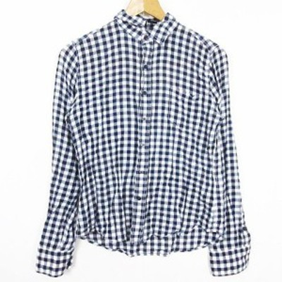 【中古】バンヤードストーム BARNYARDSTORM シャツ 長袖 小襟 0 チェック ネイビー/ホワイト at0603 レディース