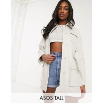 エイソス レディース ジャケット・ブルゾン アウター ASOS DESIGN Tall four pocket belted faux leather jacket in white White