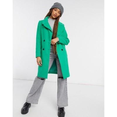 リクオリッシュ レディース コート アウター Liquorish straight coat with button detail in green Green
