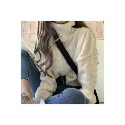 【送料無料】百 ~ 秋 ハイネック ツイスト オーバーサイズ セーター | 346770_A63782-9447642