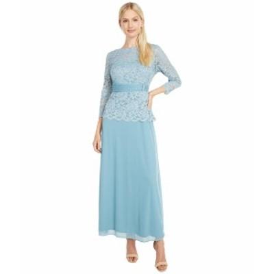 マリーナ レディース ワンピース トップス Long Mob Gown w/ Applique Slate Blue