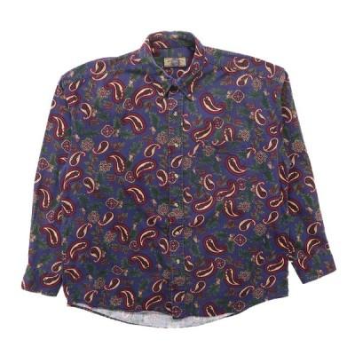 古着 ボタンダウンシャツ 長袖 ペイズリー ネイビー サイズ表記:XL