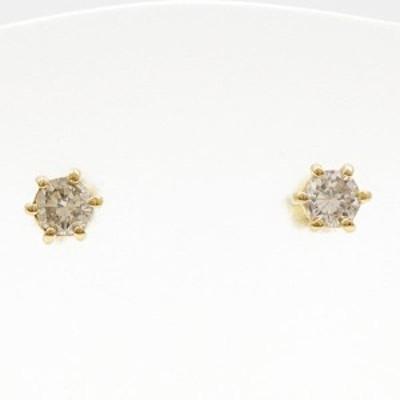 K18 18金 YG イエローゴールド ピアス ダイヤ 0.15×2 総重量約0.5g 中古ジュエリー