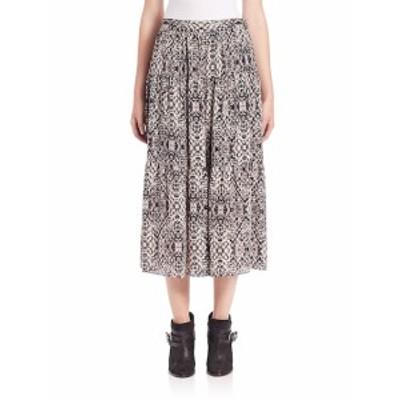 オートヒッピー レディース スカート Snake-Print Silk Midi Skirt