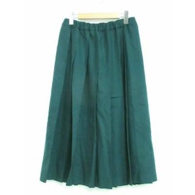 【中古】シャルパンティエ ドゥ ヴェッソ Charpentier de Vaisseau ウール100% プリーツ スカート ロング 緑 1