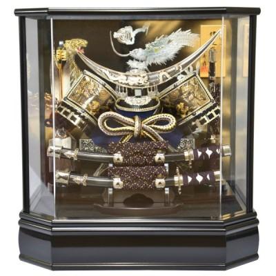 五月人形 伊達政宗 兜ケース飾り 刀付シルバー彫金兜 アクリル六角ケース 13号
