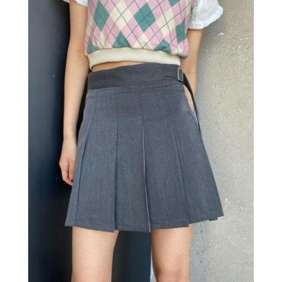 レディース スカート Belt strap pleated mini skirt