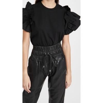 ヴィクトリア ベッカム Victoria Victoria Beckham レディース Tシャツ トップス Ruffle Shirting Sleeve T-Shirt Black