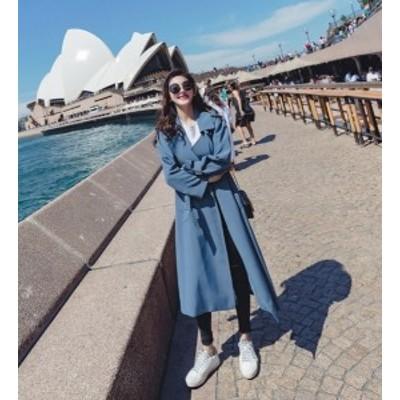 ロングトレンチコート ロングコート とろみコート オーバーサイズコート ロング丈 アウター レディース 韓国 オルチャン ファッション 春