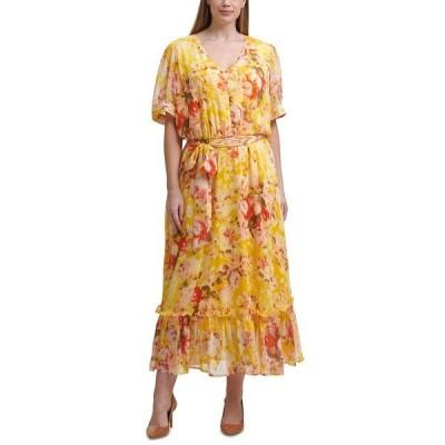 カルバンクライン ワンピース トップス レディース Plus Size Floral-Print Maxi Dress Golden Multi