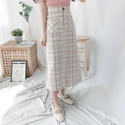レディース スカート Check Yoni Long Skirt