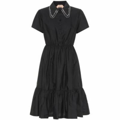 ヌメロ ヴェントゥーノ N21 レディース パーティードレス ワンピース・ドレス Crystal-embellished cotton dress Black