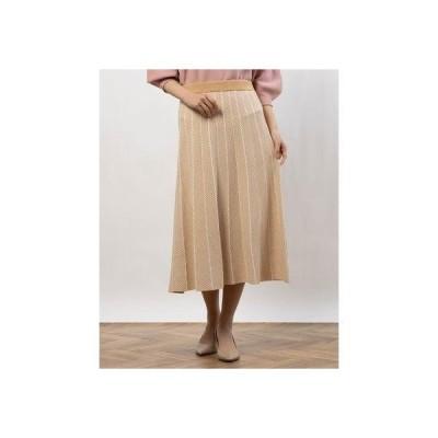 ペルルペッシュアウトレット Perle Peche outlet ヘリンボーンフレアニットスカート (ベージュ柄)