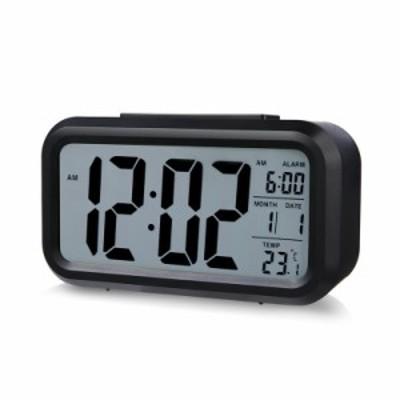 目覚まし時計 デジタル大画面 見やすい置き時計カレンダー表示センサーライト大音量 点灯 /温度計 / アラーム/目覚ましどけい