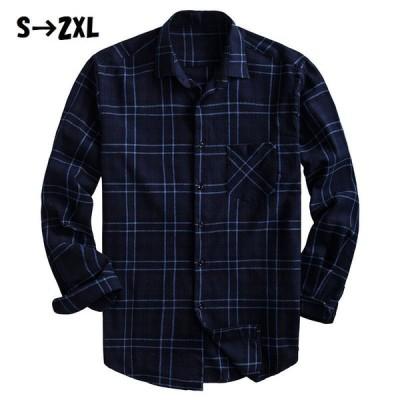 シャツ カジュアルシャツ 長袖 メンズ トップス チェック 格子柄 角襟 立て襟 スタンドカラー ボタン 前開き 袖ボタン 左胸ポケット ロールアップ