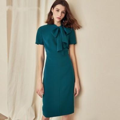 レディースファッション エレガントなvestidosビジネスパーティーボディコンシースオフィスレディリボンカラードレス  Women Vintage
