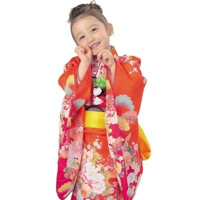 R・K 3歳きもの(三つ身)セット 牡丹 菊 松 梅 朱色 対応身長95cm 七五三 3歳 7歳 こども kids 着物