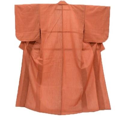 着物 ウール リサイクル着物 小紋 裄63.3cm Sサイズ 茶 縞模様 hh4757