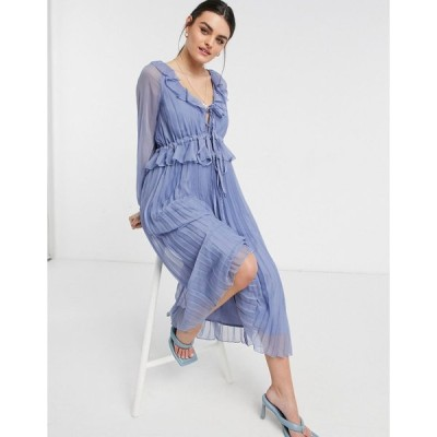 エイソス ミディドレス レディース ASOS DESIGN soft pleated midi dress with drawstring waist and frills in dusty blue エイソス ASOS ブルー 青
