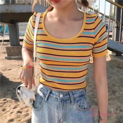 女 子 O ネックニット半袖ストレッチ Tシャツ女性コントラストカラーニット Tシャツスリム女性 ため トップス グループ上 レディース衣服 から Tシャツ 中