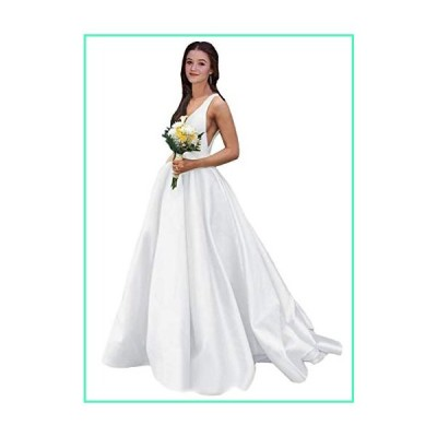Rjer Women's V Neck Prom Dress Long A Line Satin Ball Gowns With Pockets One Shawl White並行輸入品