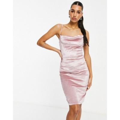 パリジャン レディース ワンピース トップス Parisian velvet cami strap midi dress with cowl front in light pink Light pink